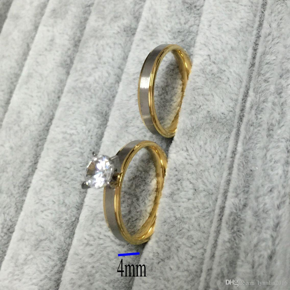 4mm titanium Steel CZ diamond Korean Couple Rings Set for Men Women Engagement Lovers, his and hers promise,2 tone gold silver