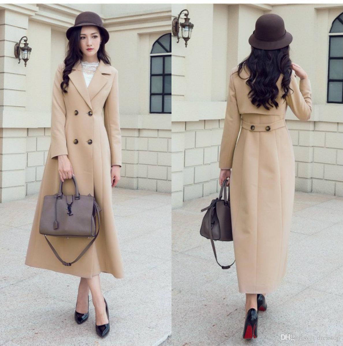 2018 Fashion Light Tan Womens Long Fall Coats For Women Slim Fit ...