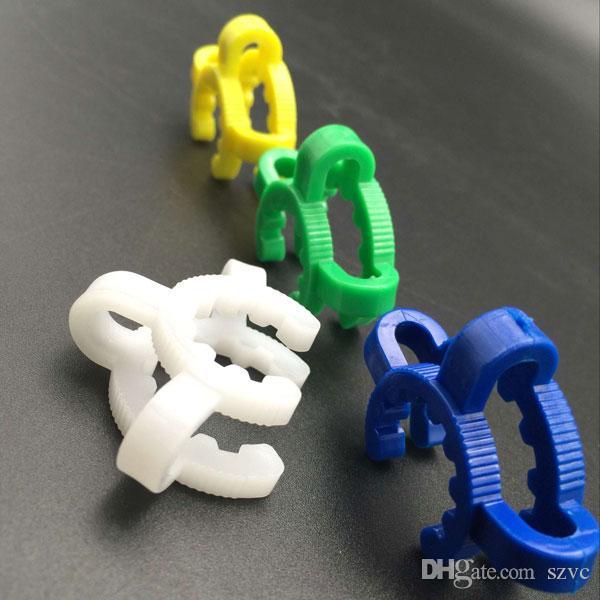 Accessoires de fumeur 14mm 18mm Plastique Keck Clip Clamp Vert Blanc Blanc Joint jaune pour les adaptateurs de bangs d'eau de verre