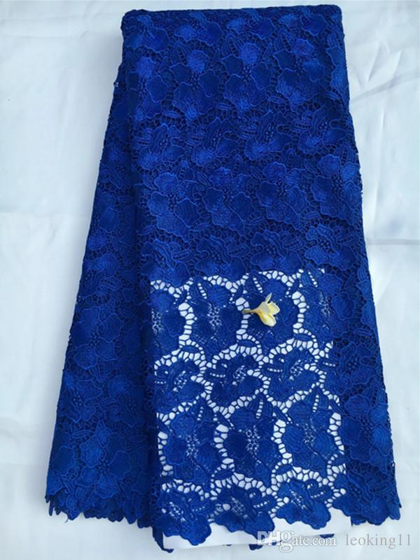 Top sale royal blue embroidery water soluble guipure lace with flower pattern african cord lace fabric for party dress QW17-5