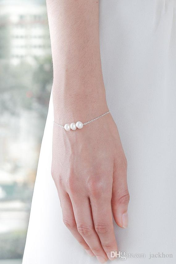 - B045 Simple Whiet or Ivory Pearls Bracelet Cute Circle Round Pearl Bracelets with Gold Silver Chain for Women Wedding Party