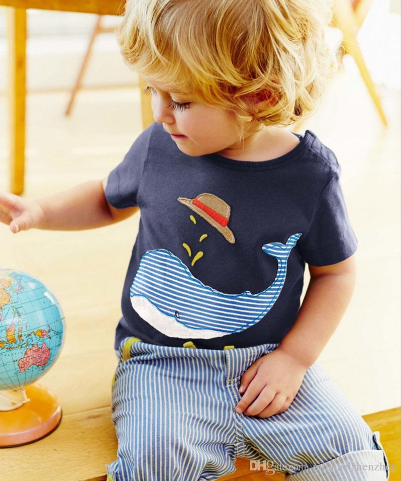 Verão menino INS baleia chapéu listra terno novas crianças dos desenhos animados dinossauro ins manga curta T-shirt + calções terno roupas de bebê B001