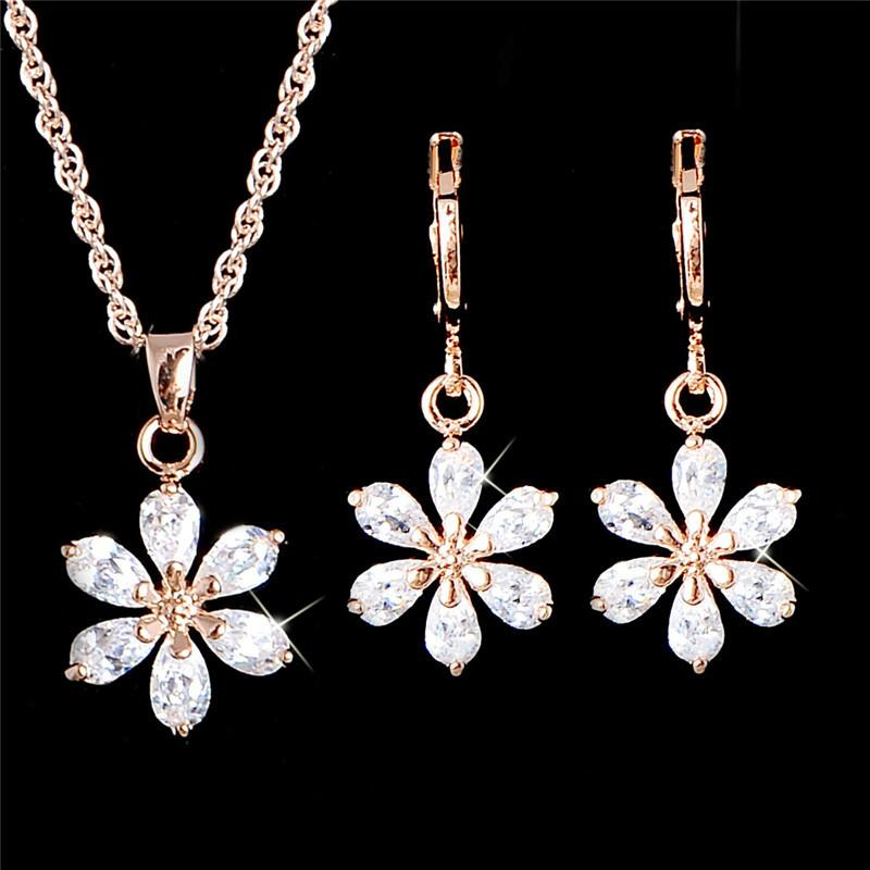 H:HYDE Nice Shipping Jewelry Sets Gold Color Clear Cute Flower CZ Zircon Pendant Necklace Earrings Wedding Jewelry Set