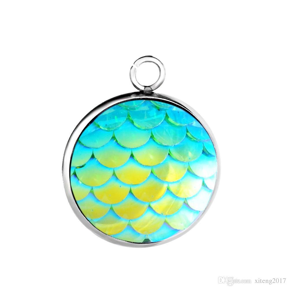 Bijoux bricolage en acier inoxydable 12MM sirène échelle pendentif charmes pour collier boucles d'oreilles poissons beauté échelle charme fabrication de bijoux fournitures