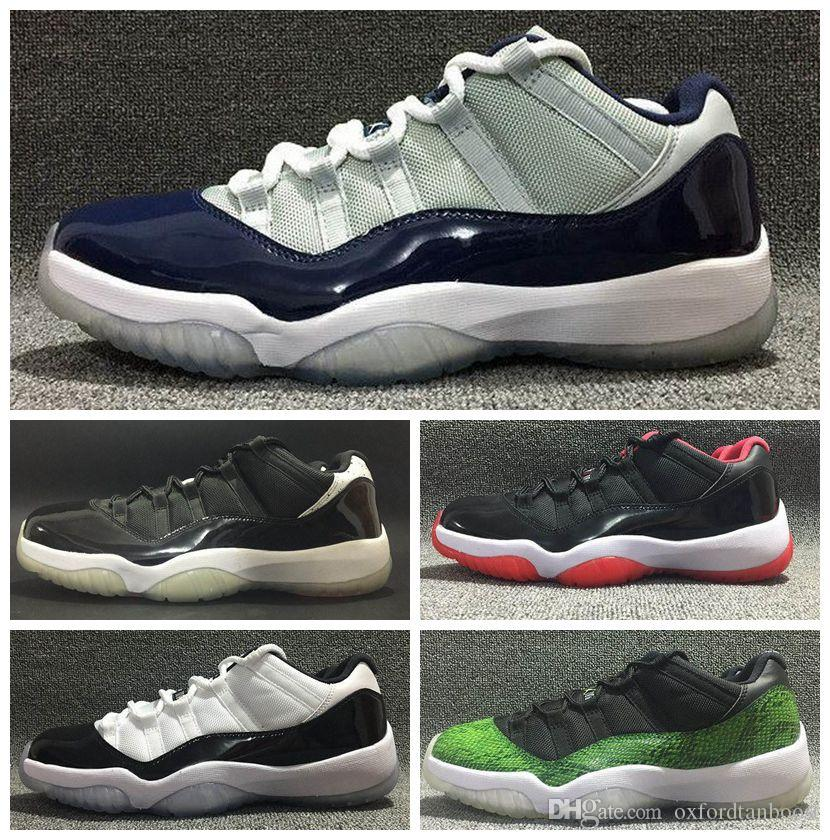 d5f0867dc2a8 Men Women Retro 11 XI Low Basketball Shoes Brand 11s Bred White Red ...