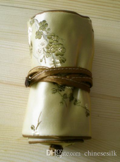 Fijne bloemen kleine zijden sieraden reizen roll up tas stof cadeau tas 3 rits pouch trekkoord multi ring tas vrouwen