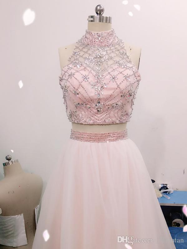 Two Pieces Beads Prom Dresses 8th grade Graduation Dresses A-Line Beading Crop Top Tulle Skirt Party Dresses High Neck vestido longo