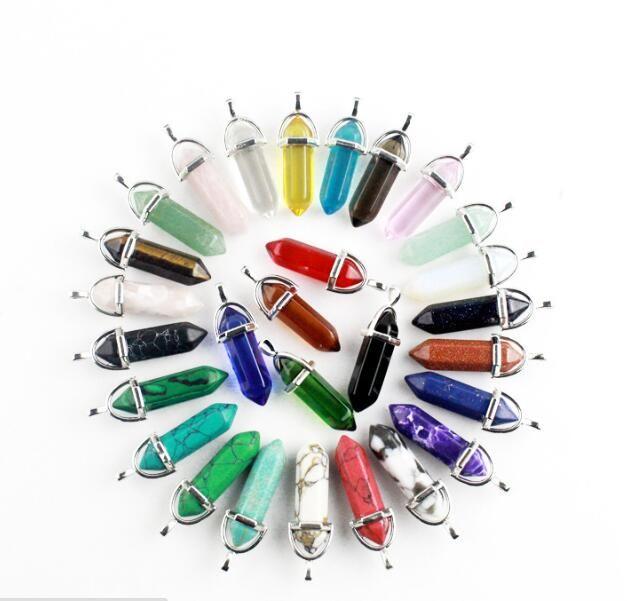 10 Arten von Naturstein Anhänger Halskette Farbe, Kristall Cluster Kugel sechs Prisma Kreuz Herz Kristall Schmuck