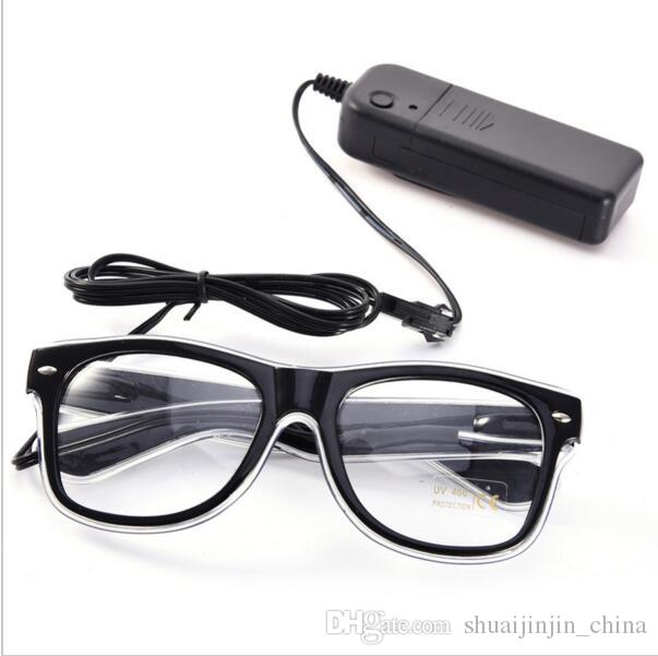 Simples EL óculos El Fio de Moda Neon LED Light Up Em Forma de Obturador Brilho Óculos de Sol Rave Costume DJ Party SunGlasses OOA7136