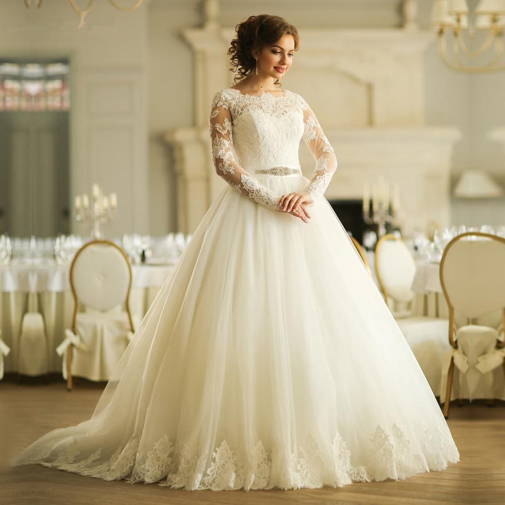 Church Vintage Lace Long Sleeve Wedding Dresses Plus Size Ball Gown ...