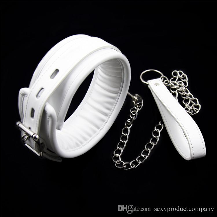 White Leather Bondage Harness Fetish Slave Collar Chain And Chain Leash  Neck Corset Sex Adult Collars Restraints Bdsm Sexy Toys Free Online Sexy Games  Games ...