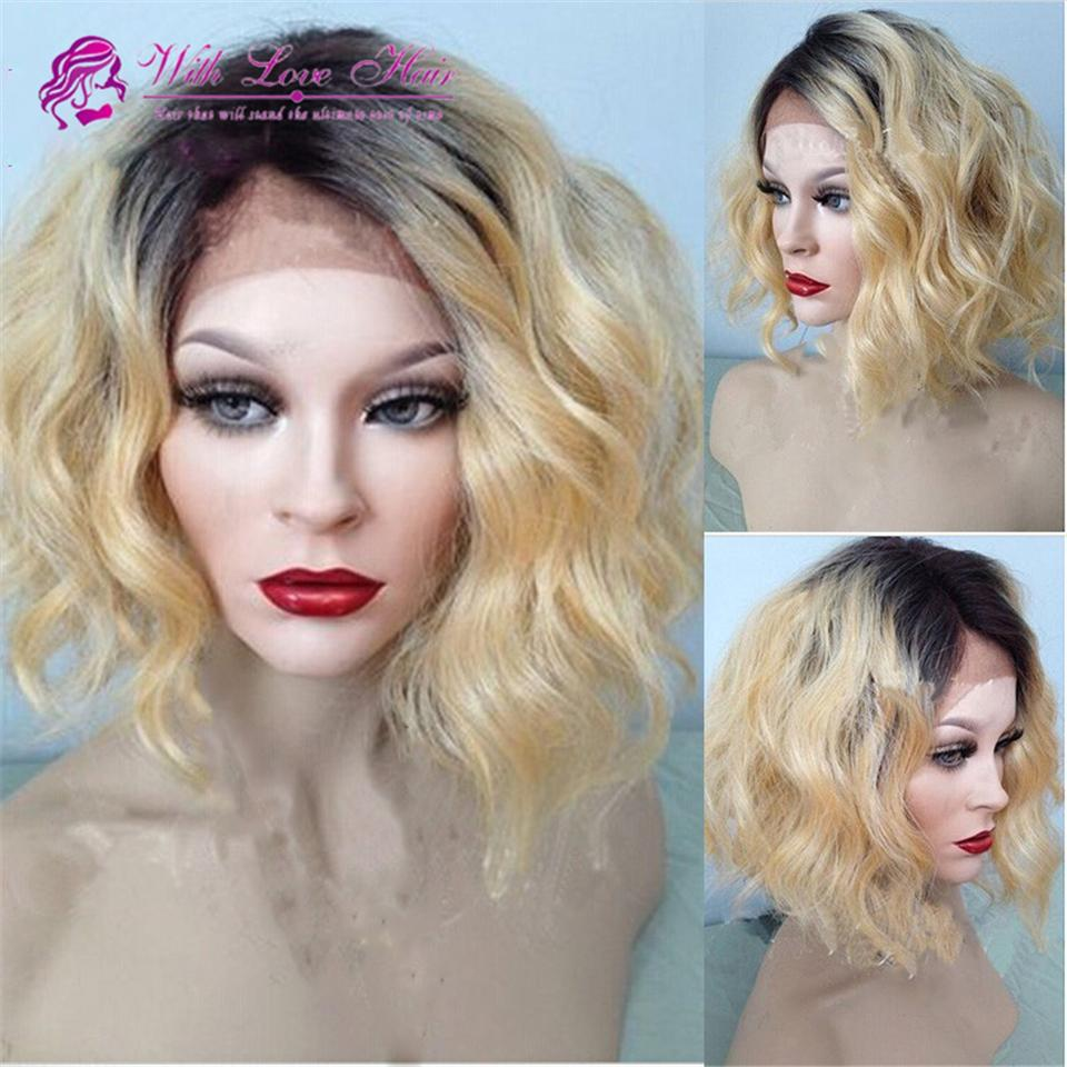 Ombre Blonde Color 100% Malaysian Virgin human hair full lace wigs & lace front wigs bleached knots ombre human hair wigs