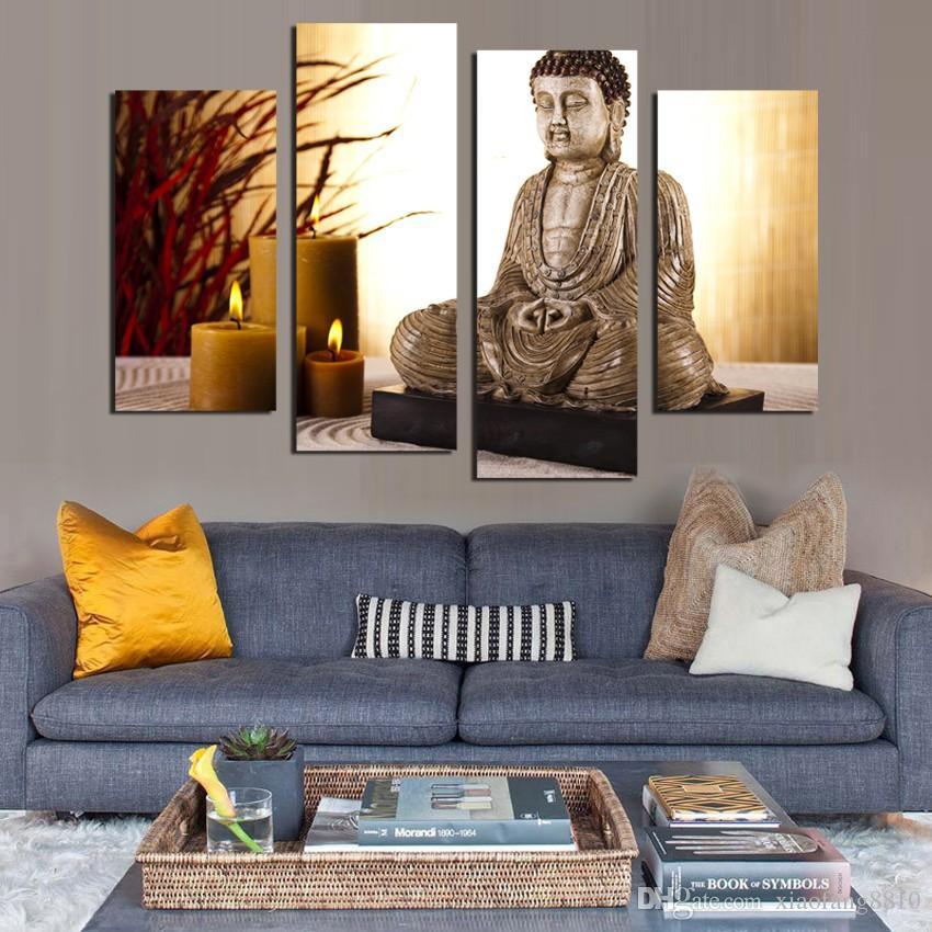 4 Painel Budismo Buddha Canvas Painting Antique Buda e vela imagem Arte Da Parede decoração de Casa para sala de estar sem moldura F1853