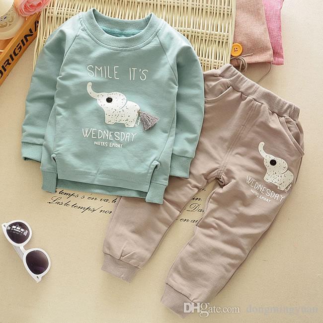 Abiti natalizi Baby Boy Boutique Set di abbigliamento Cute Elephant Felpa Top + Pantaloni casual Suit Kid Wear Clothes Tuta 1-4T
