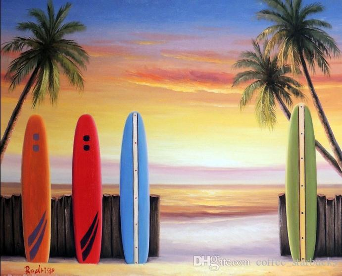 2018 Framed Surfboard Coral Beach Sunset Art Palm Trees WavesPure Hand Painted Seascape Oil Painting On Canvas Multi Sizes From Coffee Starbucks