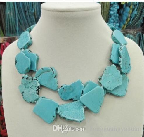 New Arrive Turquoise Slice Stone Choker Necklace Handmade Woman Gift 2 Layer