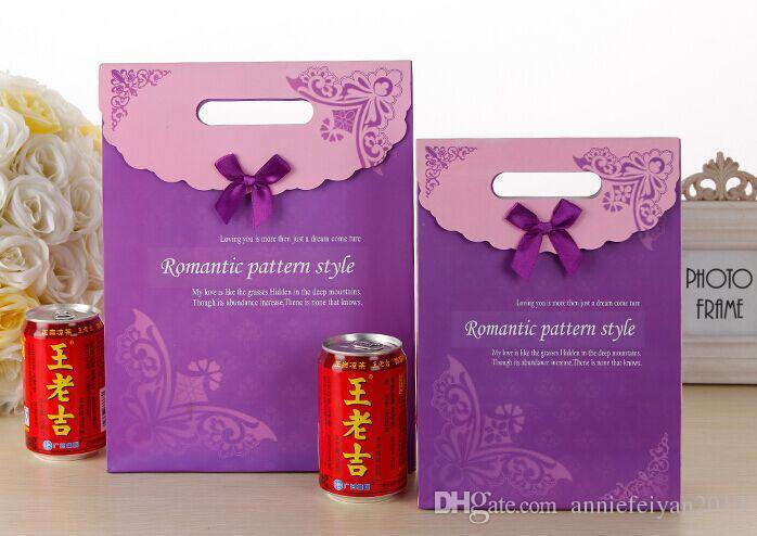 LavenderPurple / الكثير L / M / S مجوهرات / المصوغات الحقائب حقائب هدايا الزفاف الملابس حلوى المحمولة حقيبة يد / حمل حقيبة مع غطاء ملصق ماجيك