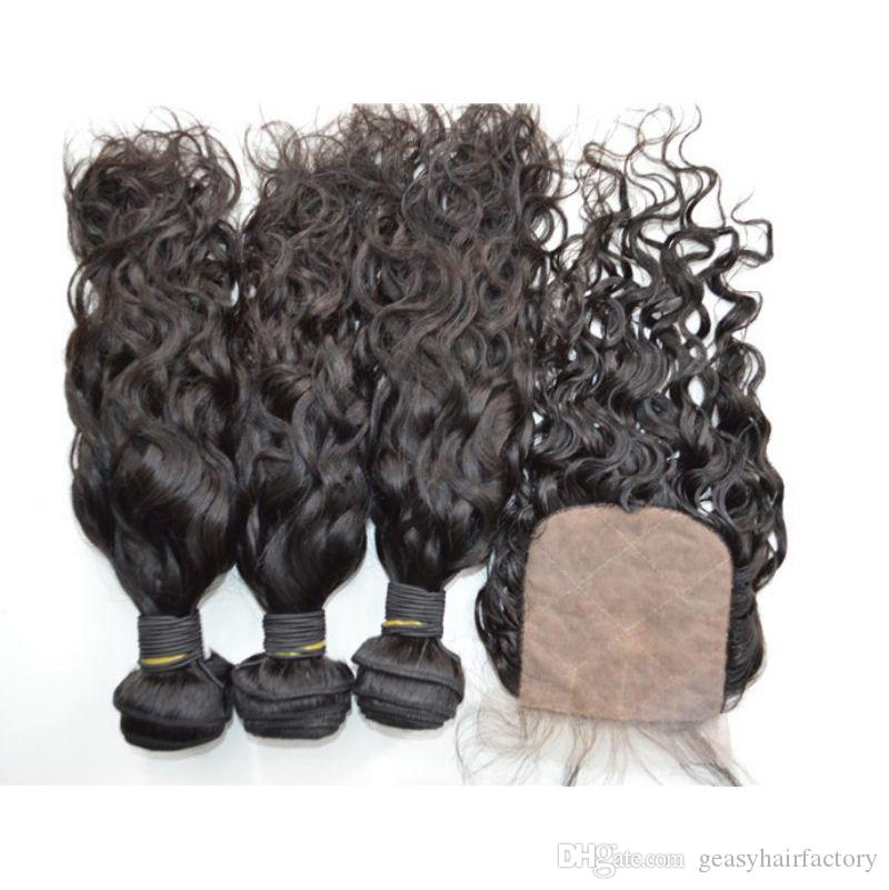 Wet And Wavy Human Hair Weaves With Closure Natural Black Malaysian Virgin Hair Water Wave LaurieJ Hair