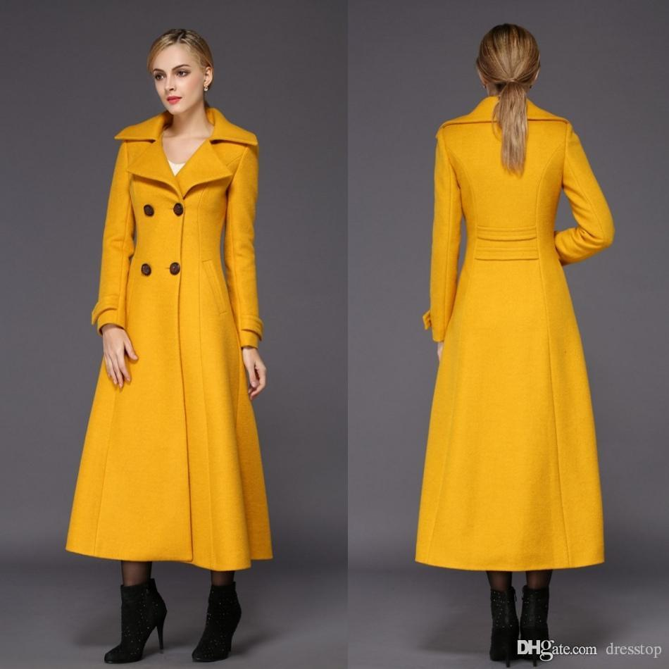 2018 Fashion Yellow Womens Long Winter Coats For Women Slim Fit ...