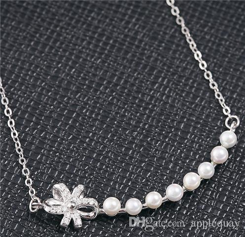 real 925 sterling silver jewelry pendants pearl necklaces woman lady cross chains white gold rose gold bowknot chokers diamante fashion