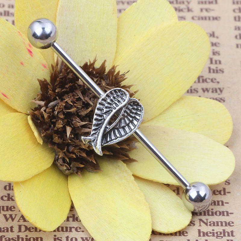 En gros de haute qualité en acier inoxydable aile boucle d'oreille industrielle Barbell corps Piercing bijoux oreille langue bijoux