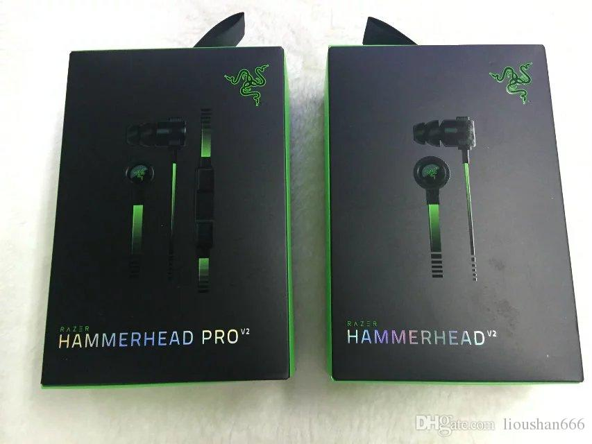 Razer Hammerhead Pro V2 Headphone in ear earphone With Microphone With Retail Box In Ear Gaming headsets Free Shipping.