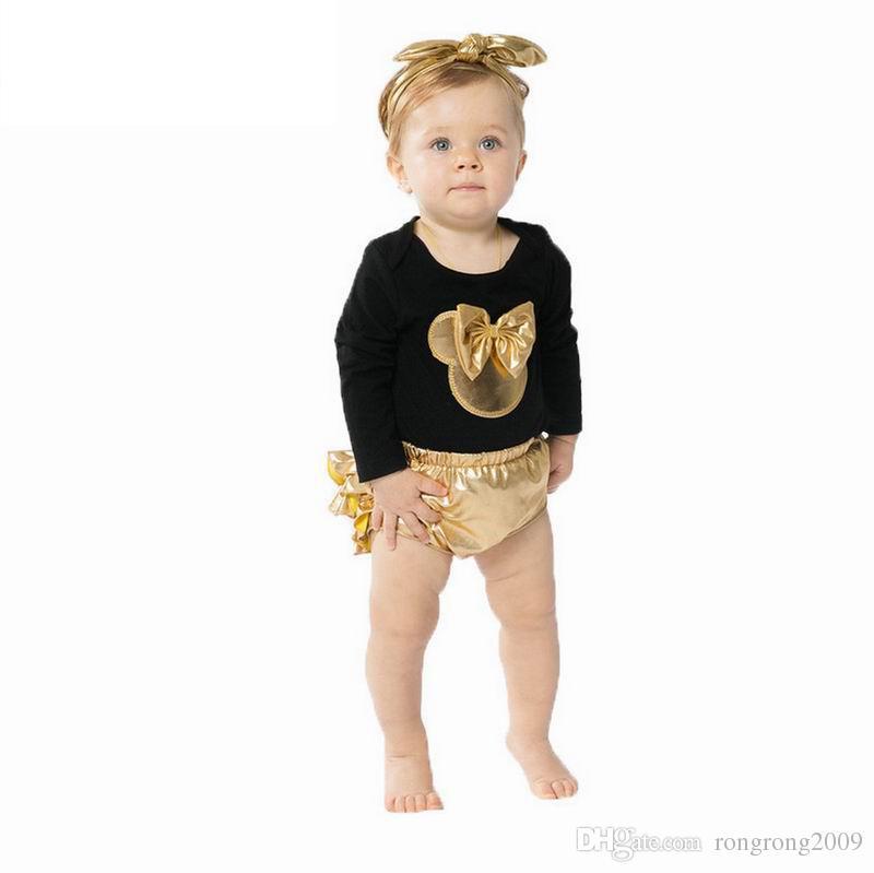 Atacado infantil orelhas meninas Roupa Set Recém-nascido desgaste do bebê Bodysuits Natal Moda Roupas Toddlers Vestuário E7670