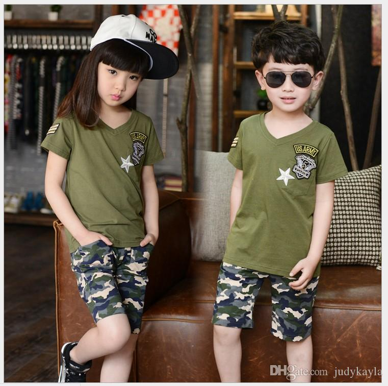 178dd2465a2c 2016 Boys Girls Summer Camp Camouflage Clothing Sets Children Short ...