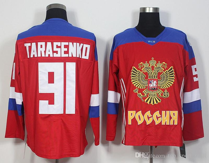 Camisolas de hóquei no gelo de 2016 Copa do mundo Rússia Alex Ovechkin Jersey vermelho 72 Artemi Panarin 13 Pavel Datsyuk 71 Evgeni Malkin 91 Vladimir Tarasenko