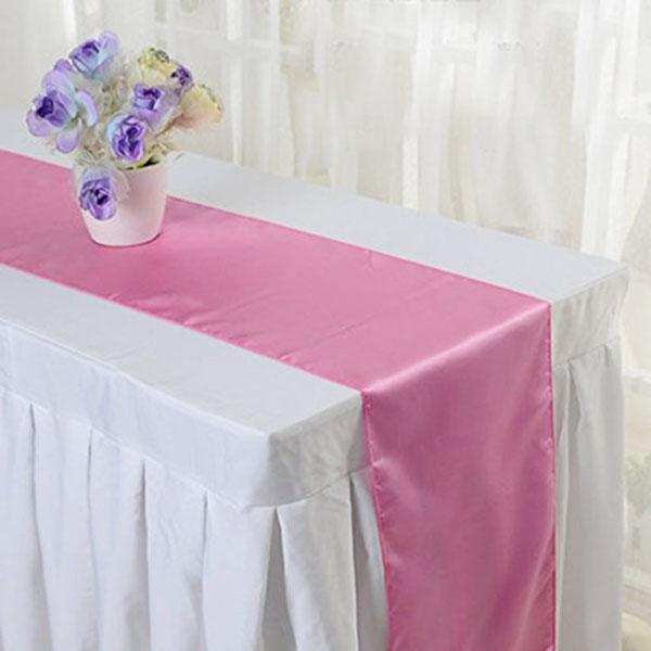 새틴 테이블 러너 치마 웨딩 파티 크리스마스 장식 장식 12 * 108 ''/ 12 * 98 '' '