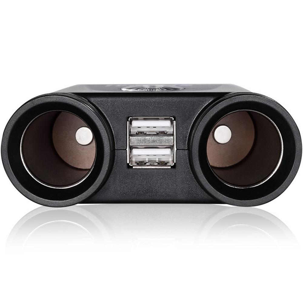 Universal Dual Socket 2 Way USB Port Vehicle Charger Car Cigarette Lighter Splitter DC 12V Car Accessories for iPhone