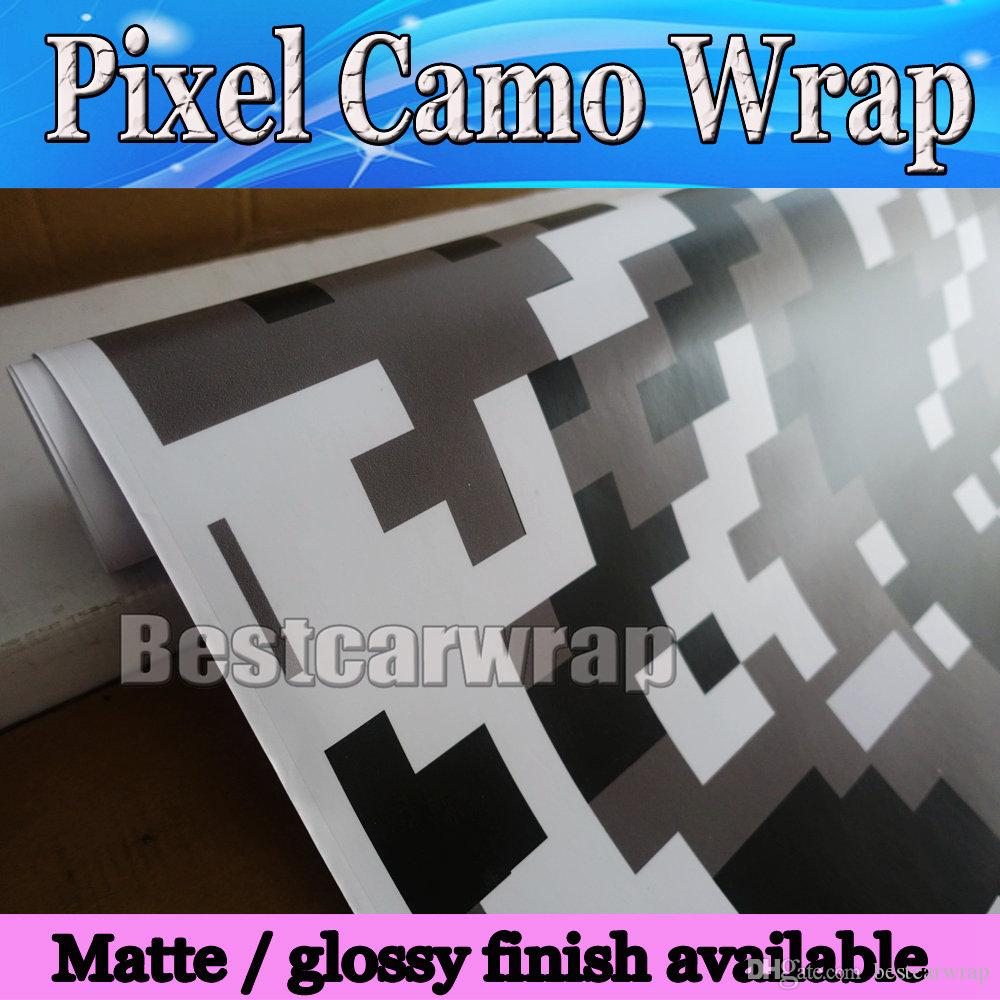 93253ed1 2019 Ubran Black White Digital Tiger Camo Vinyl Car Wrap With Air Bubble  Free Pixel Camouflage Graphics Car Sticker Film 1.52x30m/Roll 5x98ft From  ...