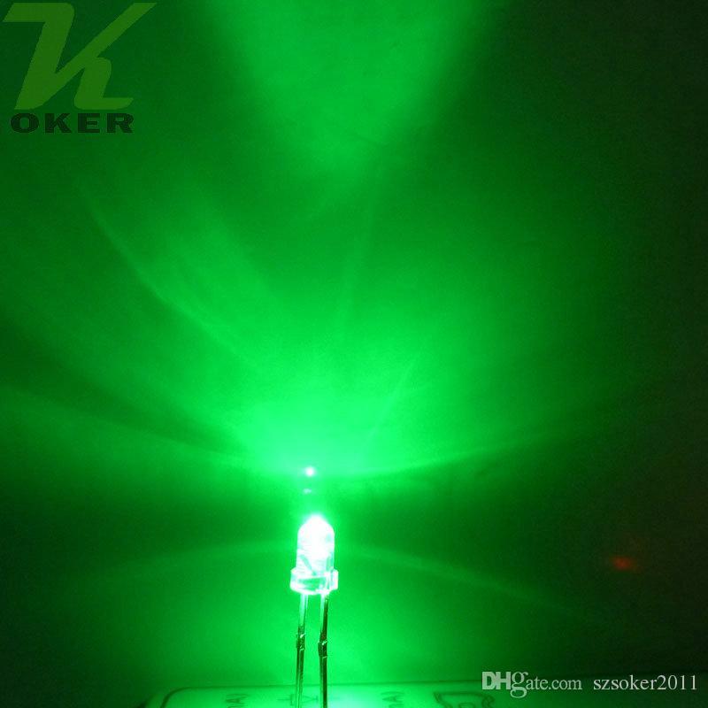 3mm 녹색 둥근 물 명확한 LED 조명 램프 방출 다이오드 울트라 밝은 비드 플러그인 DIY 키트 연습 광각