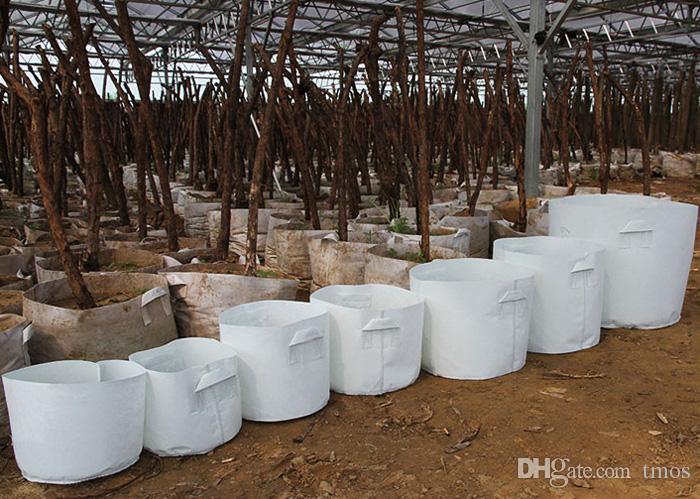 Branco tela não tecida reutilizável suave altamente respirável crescer vasos plantador saco com alças preço barato grande flor 10 tamanho opção