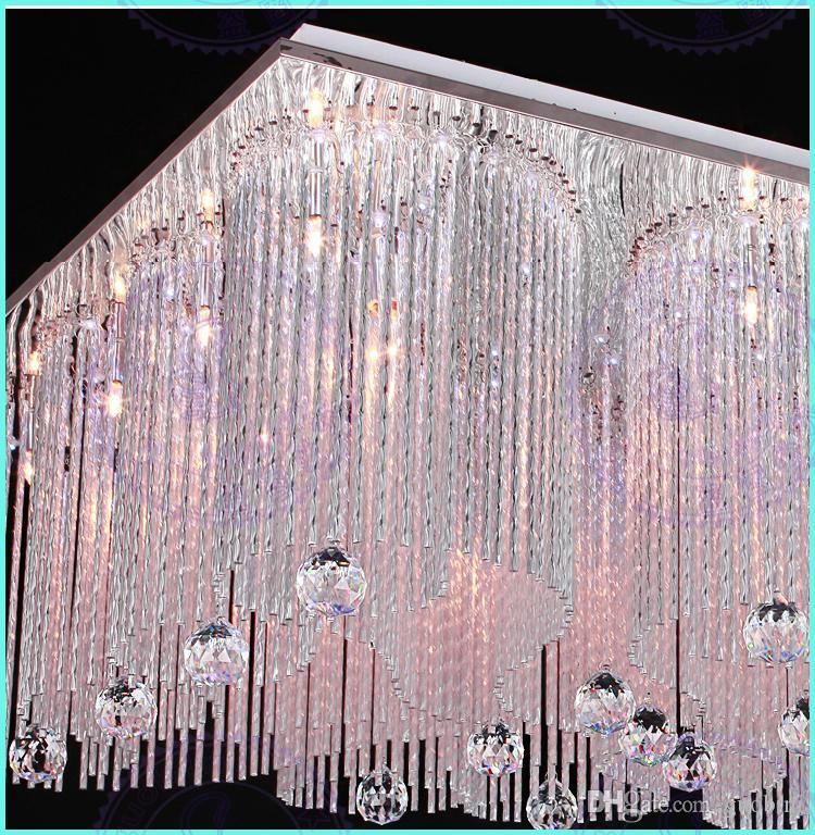 Modern european style rectangle Led segmented dimmable chandeliers ceiling light , K9 crystal beads + glittering aluminium bars