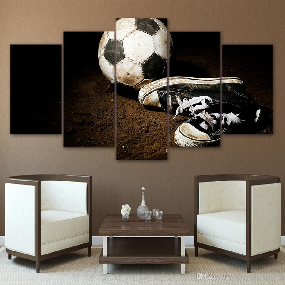 5 Panel HD Printed Framed Soccer Shoes Football Modern Home Wall Decor Painting Canvas Art Painting Wall Pictures