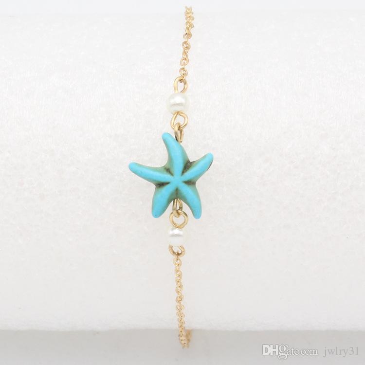أحدث تصاميم بسيطة الذهب الهندي خلخال لؤلؤة خلخال أساور للنساء السيدات وهمية الفيروز نجم البحر الخلخال مجوهرات
