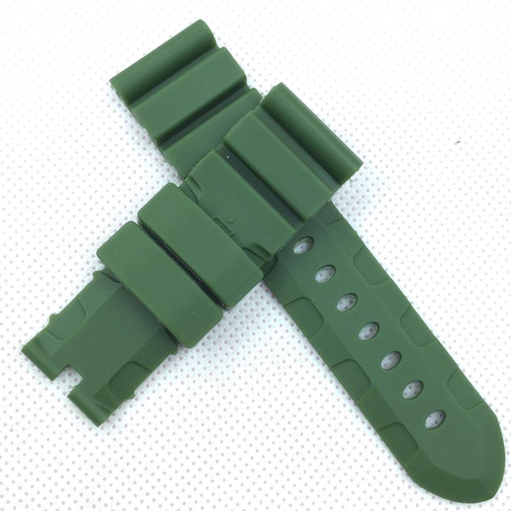 24mm 120mm / 75mm 패션 녹색 실리콘 고무 물 증거 스포츠 밴드 스트랩 PAM LUNMINOR RADIOMIR 시계 111666