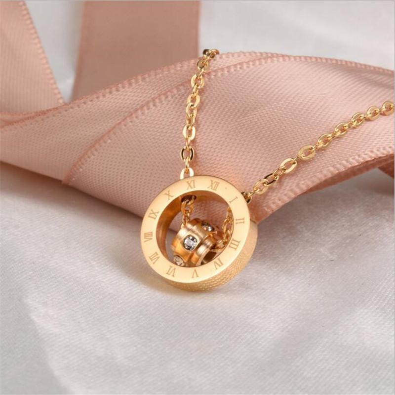 Wholesale Lovers Pendant Necklaces Of Diamond Double Ring Mixed With