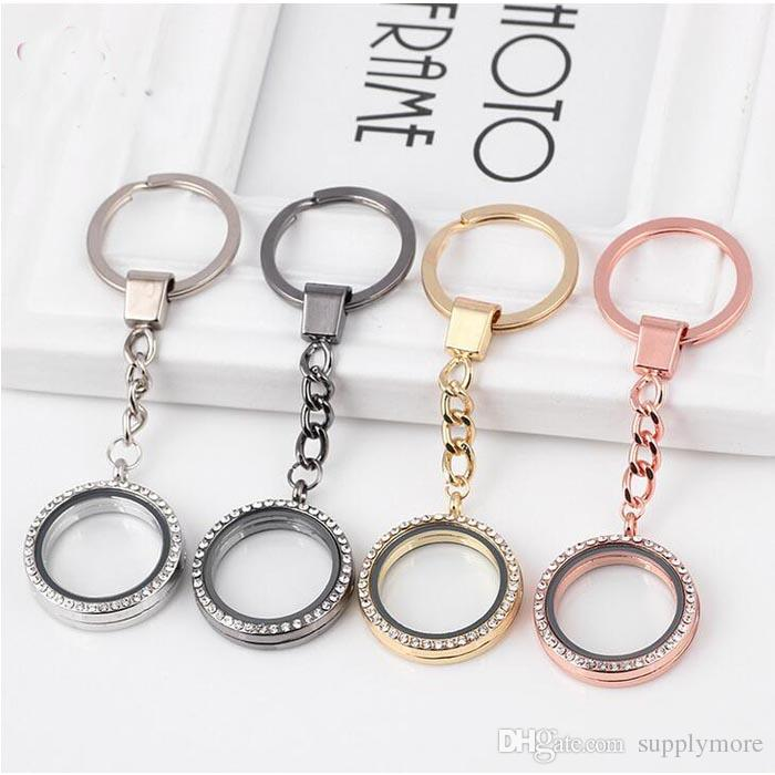 30MM Rhinestones Round Floating Locket Key Chains Glass Living Magnetic Charms Locket Keychain