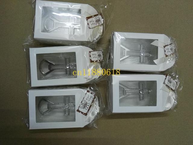 50 pçs / lote Fedex DHL Frete grátis Atacado Cross garrafa abridor de Casamento bridal Shower batismo Favor de Partido