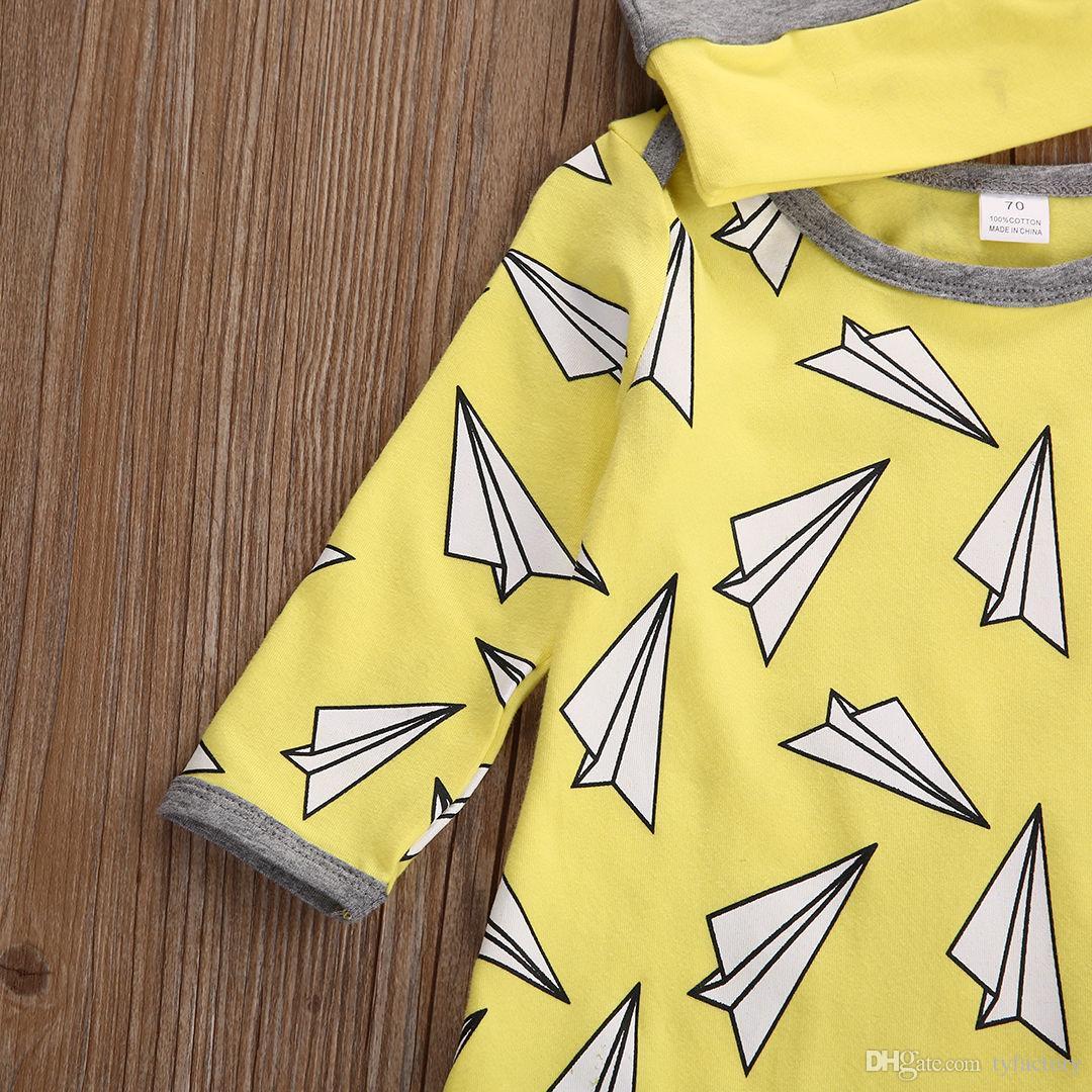 Venta caliente mamelucos del bebé amarillo Niño Infantil niños Niños Niñas Traje Jumpsuit Sombrero Trajes kite impreso algodón niños moda Conjunto de ropa