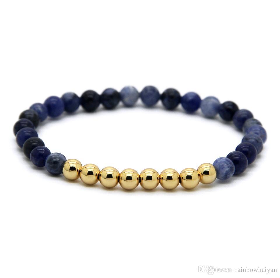 حار بيع 1 قطع 6 ملليمتر الحجر الطبيعي الخرز مجوهرات الذهب الحقيقي مطلي جولة النحاس الخرز الرجال أساور أفضل هدية
