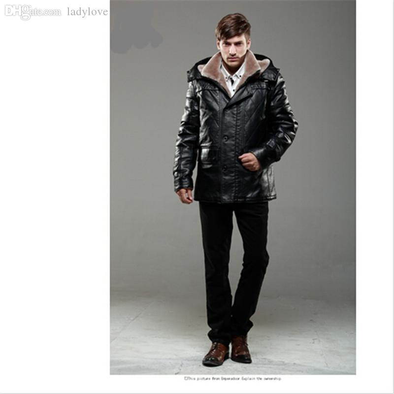 Online Cheap Fall Black Fitted Leather Jacket The Hood Collar Plus ...