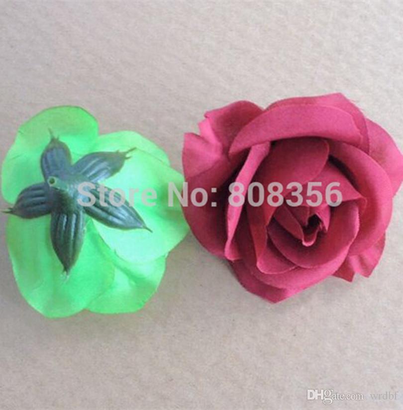 Champanhe Cor Bonito de Diâmetro 7-8 cm Camélia Artificial Rose Tecido Camélia Cabeças de Flor