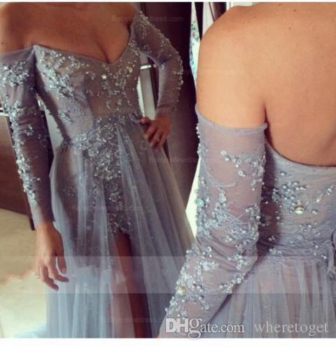 Sexy Tüll prom Split Side Abendkleider Off-the-Schulter lange Ärmel mit Beadings 2019 Zweiteilige Spitzenkleider Abnehmbare Zug