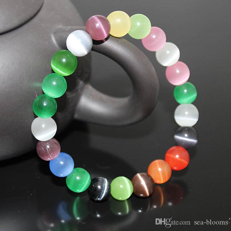 Çok Renkli Kedi Göz Charm Bilezik 8 MM 10MM Yarı Değerli Taş Yuvarlak Boncuk Bilezik İçin Kadınlar Gelin Takı Aşk Hediye B697S