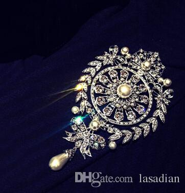 New brand Luxury design silver pearl large brooches rhinestone crystal flower bow brooch pin for women bride fashion jewelry