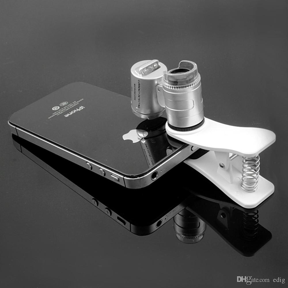 Fashion Mini Money Tester 60X Pocket Microscope Magnifier Loupe Glass LED Light UV with clip