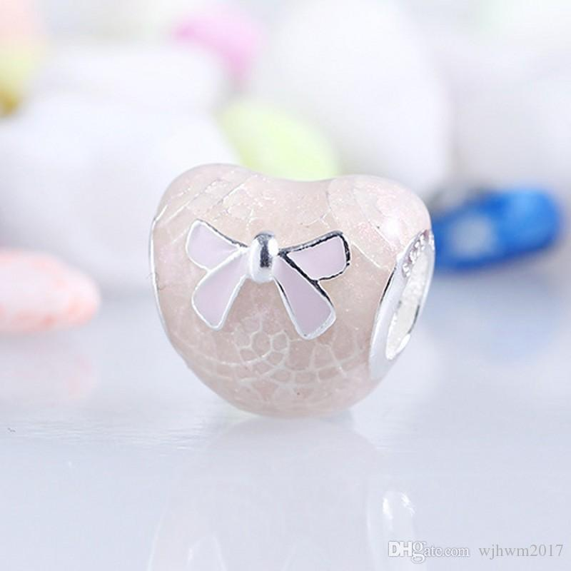 New Valentines Day Lace Bow Charms Bead Authentic 925 Sterling Silver Jewelry Pink Enamel Bowknot Heart Beads For Diy Bracelets Making